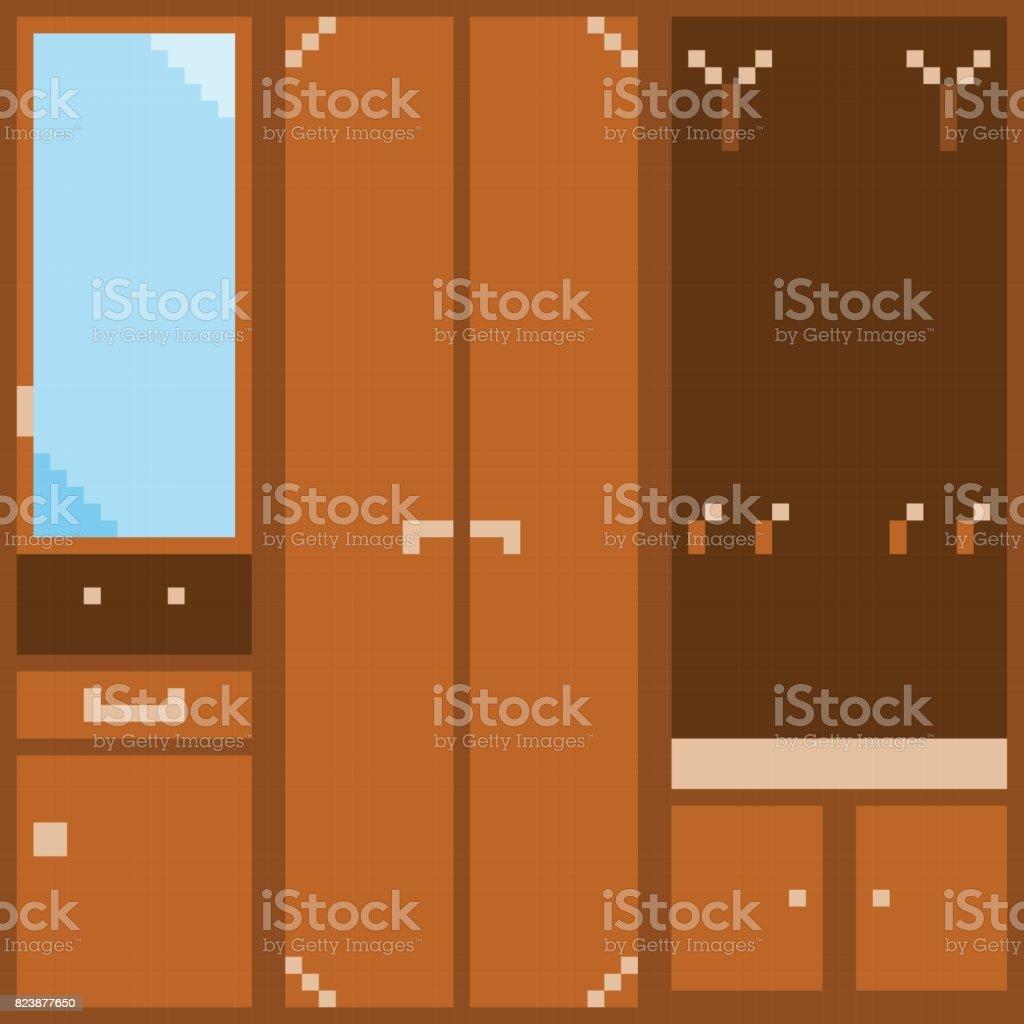 Un conjunto de naranja muebles modulares para el pasillo en el estilo de pixel - ilustración de arte vectorial