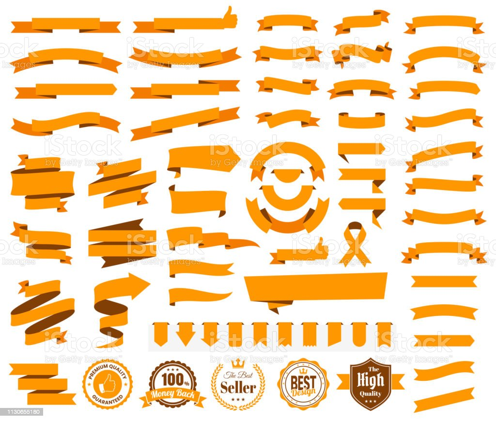 Set of Orange Ribbons, Banners, badges, Labels - Design Elements on white background - Royalty-free Arrow Symbol stock vector