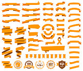 Set of Orange ribbons, banners, badges and labels, isolated on a blank background. Elements for your design, with space for your text. Vector Illustration (EPS10, well layered and grouped). Easy to edit, manipulate, resize or colorize. Please do not hesitate to contact me if you have any questions, or need to customise the illustration. http://www.istockphoto.com/portfolio/bgblue