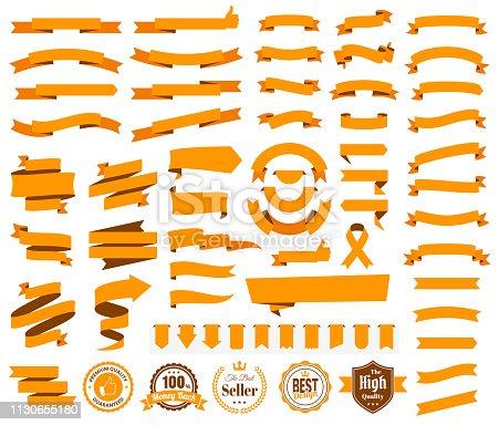 Set of Orange Ribbons, Banners, badges, Labels - Design Elements on white background