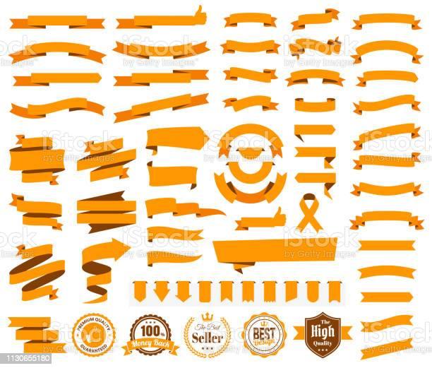 Set Of Orange Ribbons Banners Badges Labels Design Elements On White Background - Arte vetorial de stock e mais imagens de Balão de Fala
