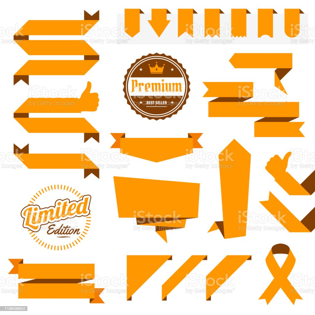Set Of Orange Ribbons Banners Badges Labels Design Elements On White