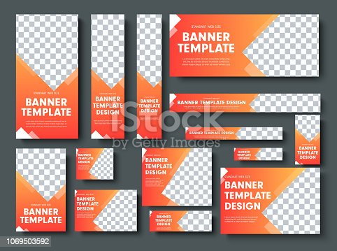 Set of orange yellow vector web banners with place for photo. Design a standard size template for business and advertising with a gradient.