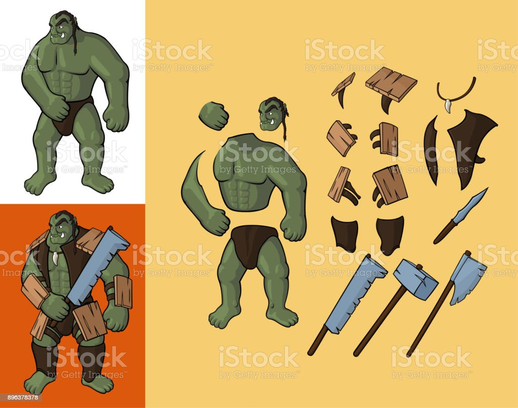 Set of orcs v1. Strong orc and equipment vector art illustration