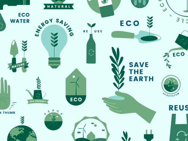 set of organic and go green icons - sustainability stock illustrations