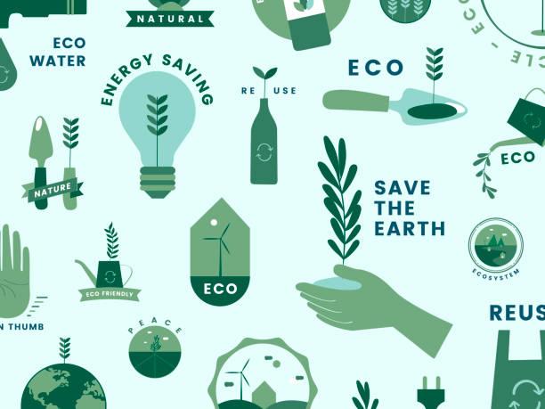 ilustrações de stock, clip art, desenhos animados e ícones de set of organic and go green icons - sustainability