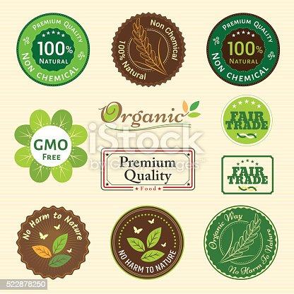 istock Set of organic and natural badge tag label emblem sticker 522878250