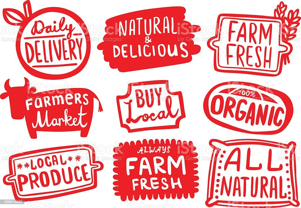 Set of Organic Farm Produce Stickers vector art illustration