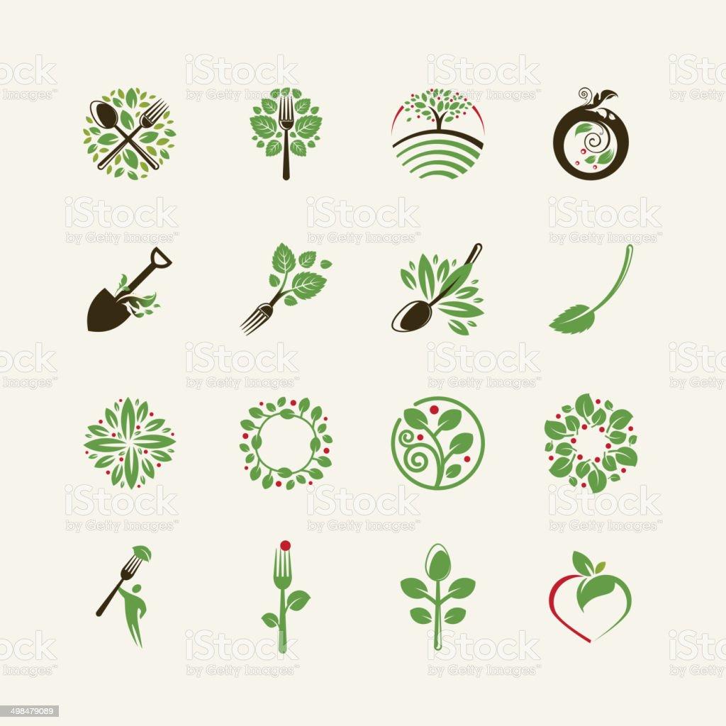 Ensemble d'icônes d'aliments biologiques - Illustration vectorielle