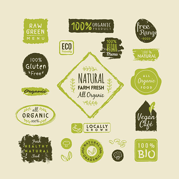 set of organic food labels and elements - organic stock illustrations, clip art, cartoons, & icons