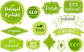 set of organic fresh eco labels