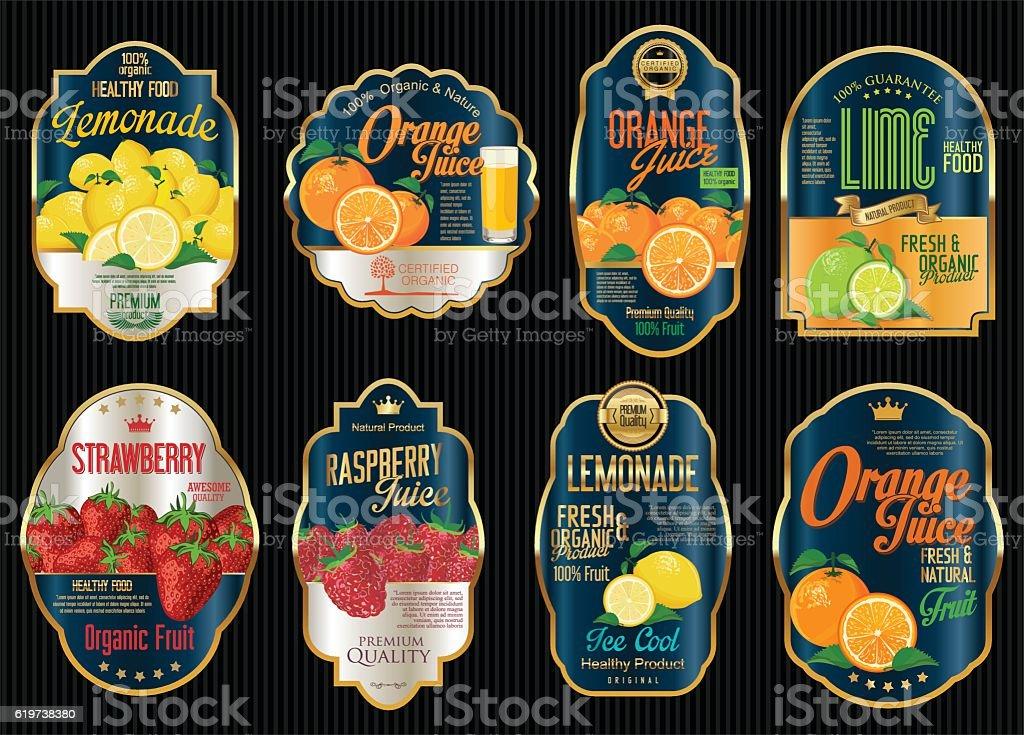 Conjunto De Orgánico De Frutas Retro Vintage Etiquetas De Oro - Arte ...