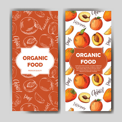 Set of organic fruits cards. Hand drawn sketch elements. Banner collection template. Farm company. Vector illustration for poster