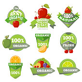 Set of organic natural fruits labels. Apple cherry and strawberry. Vector illustration