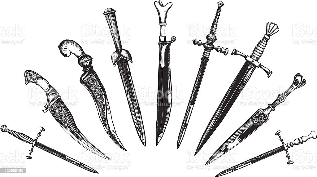 Set of Oriental and European Daggers vector art illustration