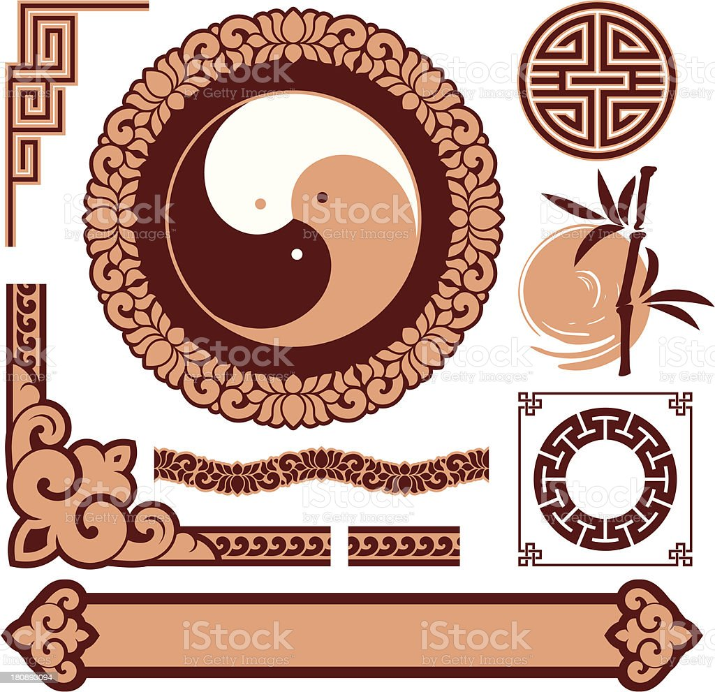 Set of Oriental Design Elements royalty-free stock vector art