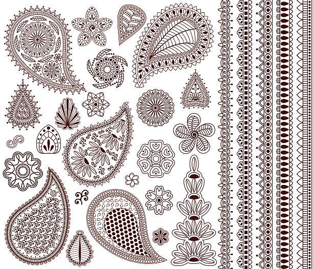 stockillustraties, clipart, cartoons en iconen met set of oriental ornaments - hennatatoeage