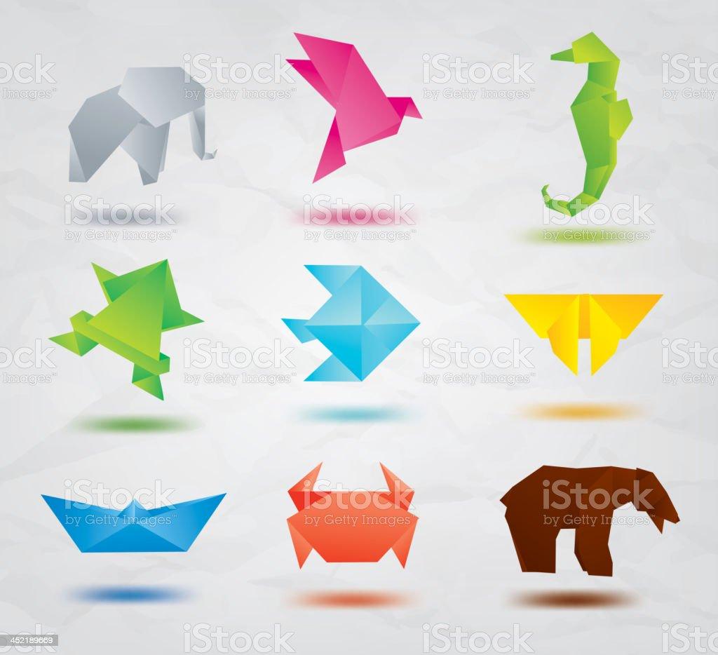 Set of origami animals symbols vector art illustration