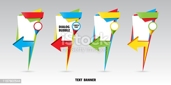 Set of origami arrow speech bubble for design of advertisement label, sticker, discount price tag. Map marker dialogue banner for your message from paper origami arrow. Vector illustration