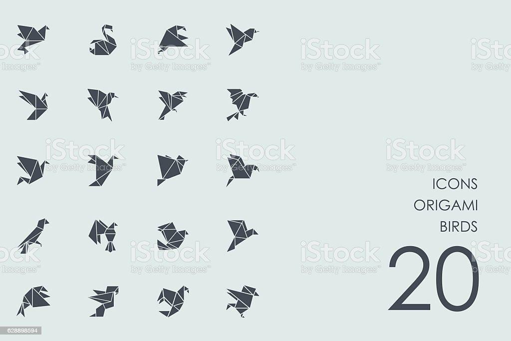 Set of origami birds icons vector art illustration