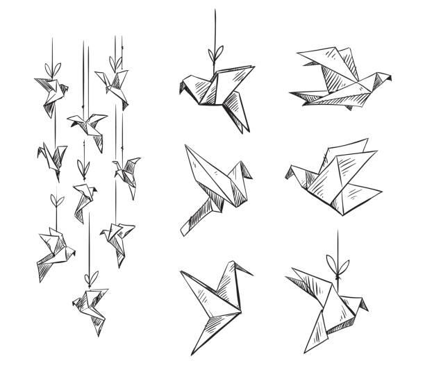 set of origami birds, vector sketch set of origami birds, vector sketch bird drawings stock illustrations