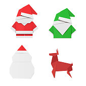Set of origami Christmas characters: Santa Claus, elf, snowman and deer. Paper toys for decorations