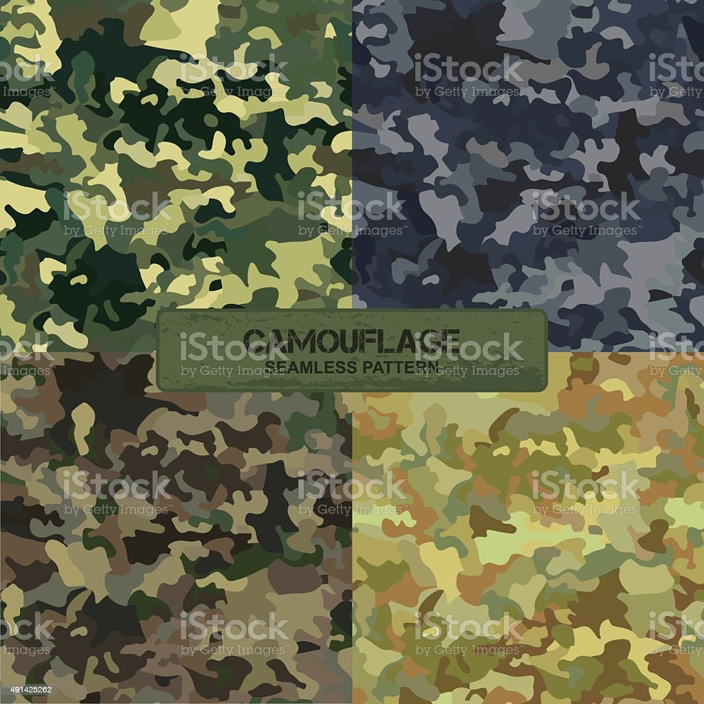 Set of original camouflage patterns. Seamless backgrounds vector art illustration