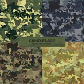 Set of original camouflage patterns. Seamless backgrounds
