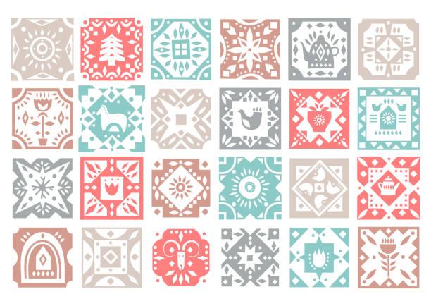 ilustrações de stock, clip art, desenhos animados e ícones de set of original monochrome square tiles with folk rustic patterns. - hygge