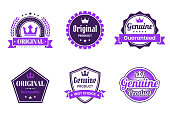 """Set of 6 """"Original"""" Purple badges and labels, isolated on white background (Original, Original Product, Genuine - Guaranteed, Original - Best Quality, Genuine Product - Best Choice). Elements for your design, with space for your text. Vector Illustration (EPS10, well layered and grouped). Easy to edit, manipulate, resize or colorize. Please do not hesitate to contact me if you have any questions, or need to customise the illustration. http://www.istockphoto.com/portfolio/bgblue"""