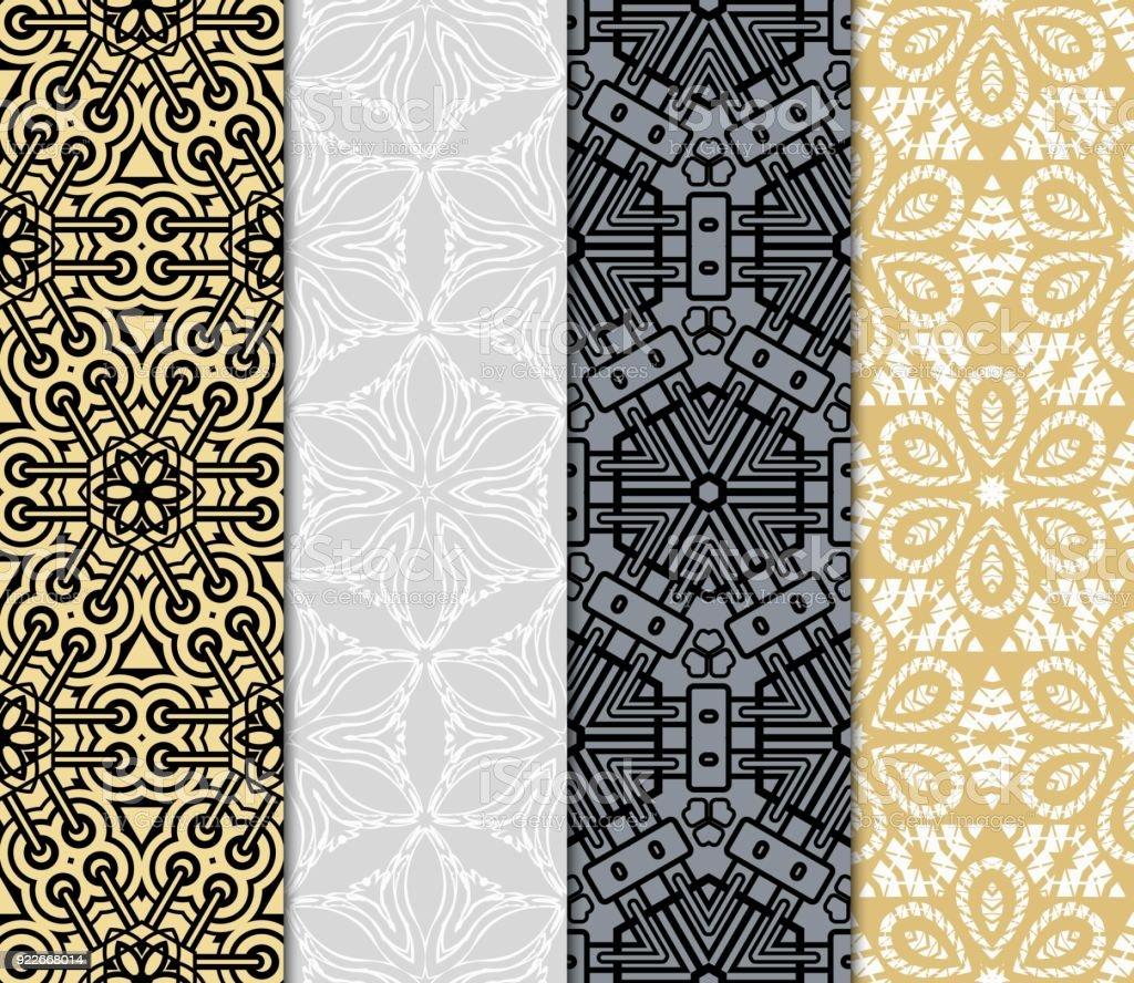 Satz Von Original Nahtlose Muster Mit Modernen Ornament ...