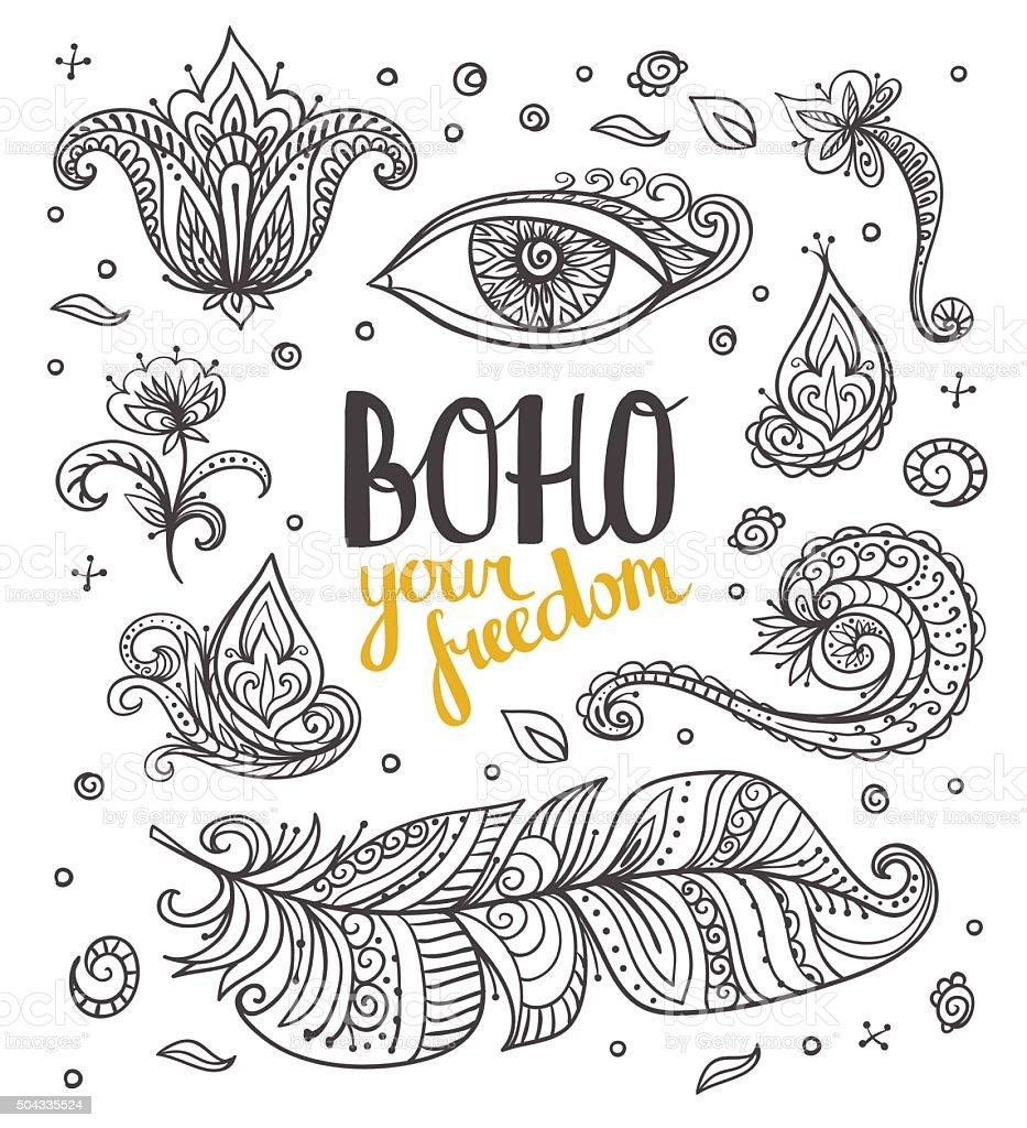 Set of Ornamental Boho Style  elements. Vector illustration. vector art illustration