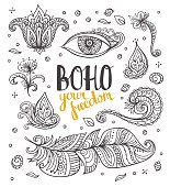 Set of Ornamental Boho Style  elements. Vector illustration.