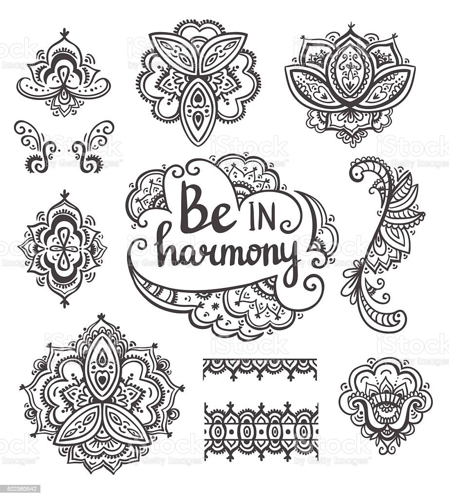 Set of Ornamental Boho Style flowers and elements. Vector illustration.