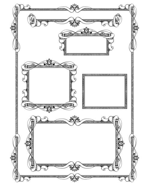 Royalty Free Ornate Neo Classical Border Picture Frame Clip Art