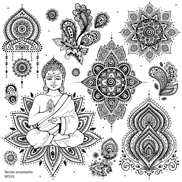 set of ornamental indian symbols - buddha stock illustrations, clip art, cartoons, & icons