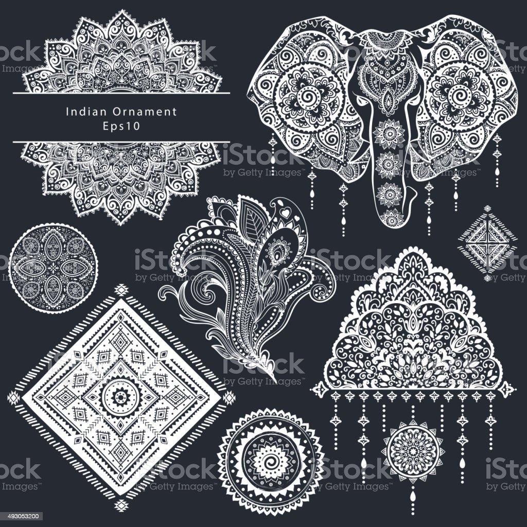 set of ornamental indian symbolsethnic elephant stock vector art more images of 2015 493053200. Black Bedroom Furniture Sets. Home Design Ideas