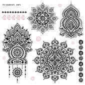 Set of ornamental Indian symbols.Ethnic elephant