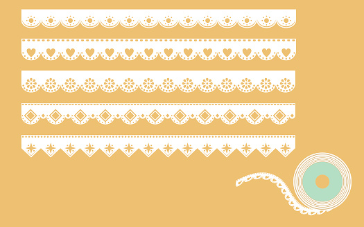 Set of ornamental lace borders. Vector illustration in vintage style