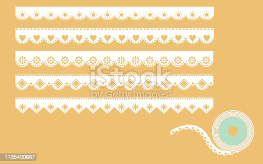 istock Set of ornamental lace borders. Vector illustration in vintage style 1135400667