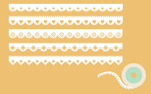 set of ornamental lace borders. vector illustration in vintage style - scallop stock illustrations, clip art, cartoons, & icons