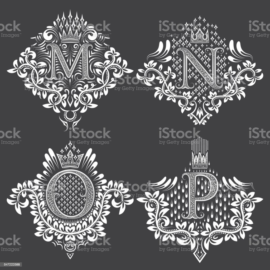 Set of ornamental monogram in coats of arms form. – Vektorgrafik