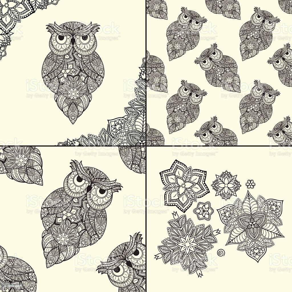Buho Tatuaje Mandala ilustración de conjunto de búhos con mandala flores