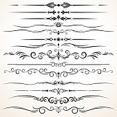 Set of Ornamental Rule Lines in Different Designs