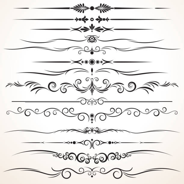 set of ornamental rule lines in different designs - spinacz artykuł biurowy stock illustrations