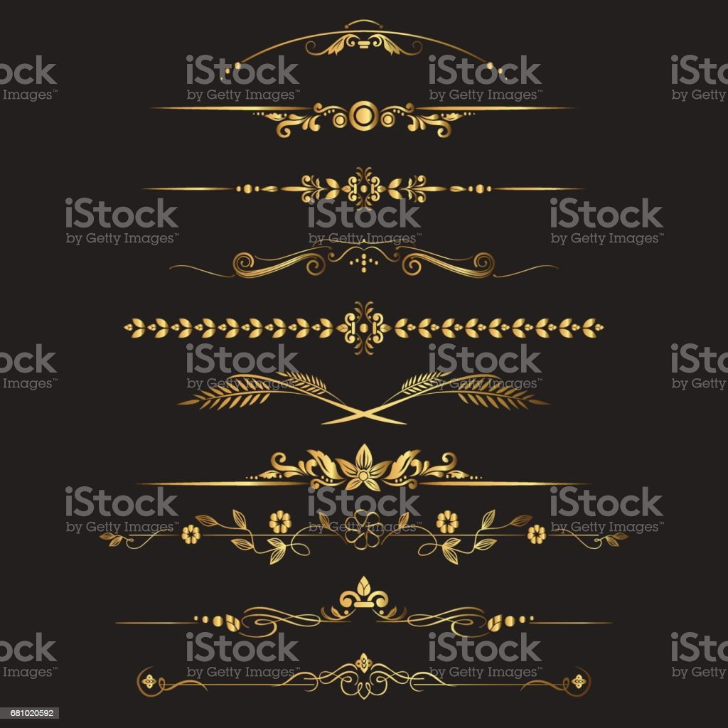 Set of ornamental vintage decorations royalty-free set of ornamental vintage decorations stock vector art & more images of antique