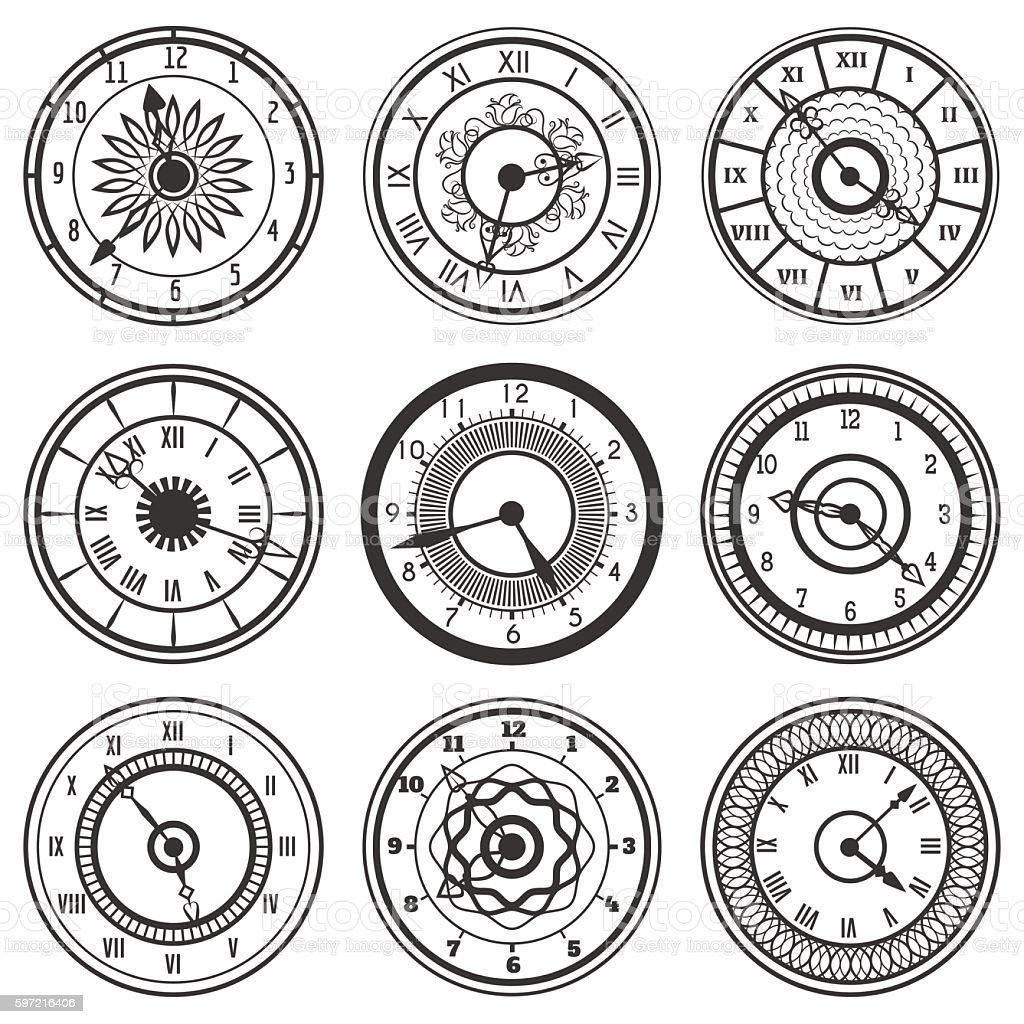 Set of ornamental watches vector art illustration