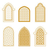Set of ornamental windows in arabic style. For greeting card, coloring page, islamic design