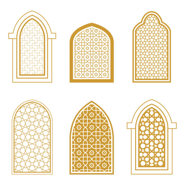 set of ornamental windows in arabic style - arab stock illustrations