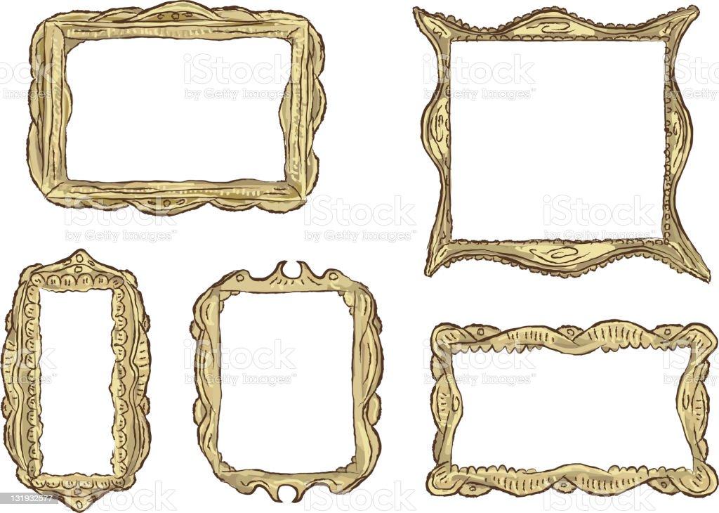 Set of ornate antique guilded frames vector art illustration